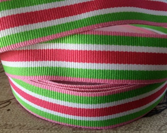 "3 yard 7/8"" Preppy Lime Green Pink and White STRIPE Grosgrain Ribbon"
