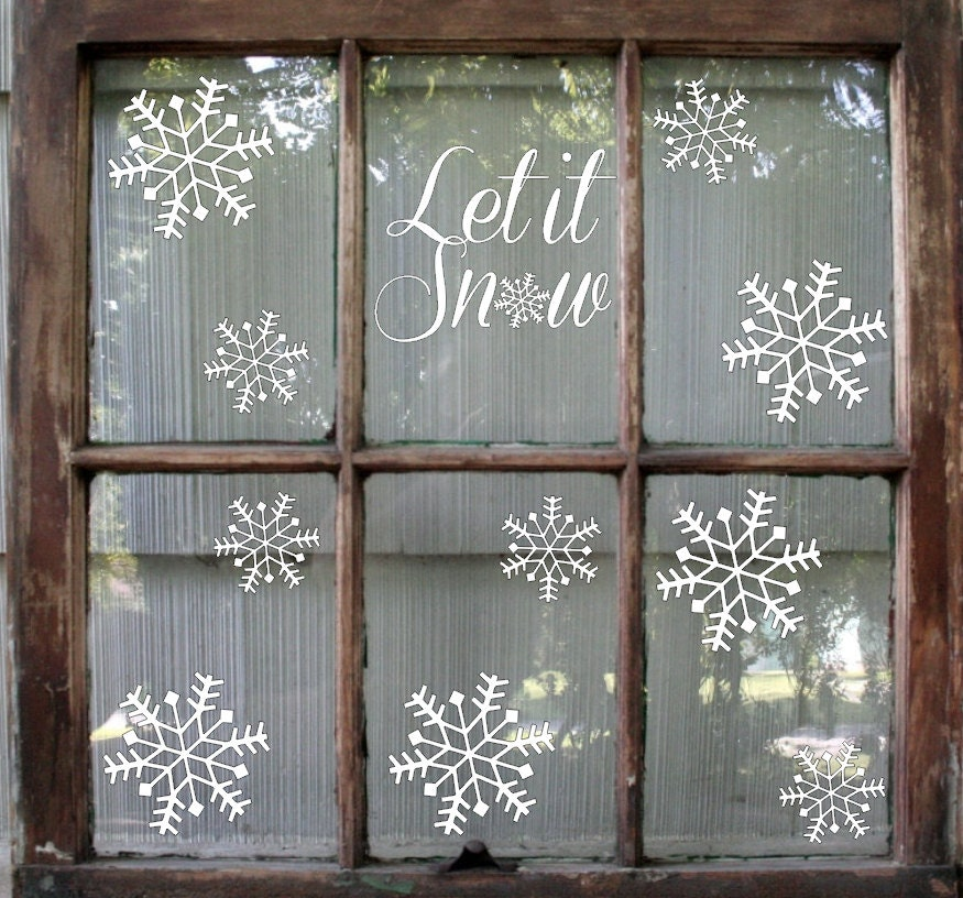 Snowflake Decal Christmas Decoration Let It Snow Decal