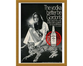 "1969 Gordon's Vodka Color Print AD / The only vodka with a patent on smoothness / 7"" x 9"" / Original Advertisement / Buy 2 ads Get 1 FREE"