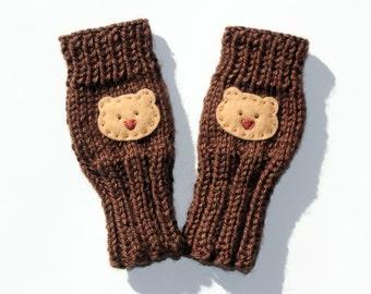 Cute Toddlers Fingerless Gloves, Teddy Bear Gloves, Baby Bear, Chocolate, Small Cute Kids