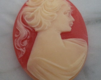 40mm x 30mm oval resin cameos Ponytail lady profile ivory on cornelian red 2 pc lot
