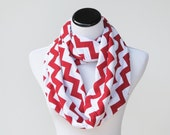 Chevron infinity scarf Christmas red white traditional scarf - jersey knit cotton red circle scarf loop scarf gift idea for her gift for mom