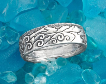 Hand Carved, Sterling Silver Narrow Habitat Ring