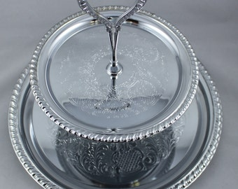 IRVINWARE / Shelton-Ware * Made in U.S.A. * Silver Polished Chrome 2 Tier Tray * Metal Serving / Display * Ornate Engraved Scroll Pattern