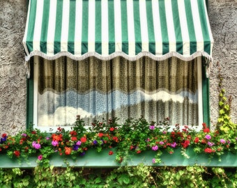 Striped Awning , Window with Lace Curtains, Sky Reflection, Flower Boxes, Colorful