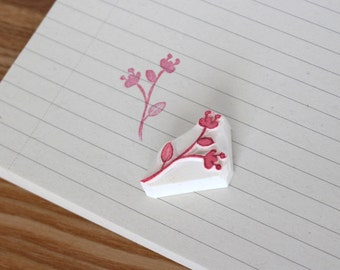 Flowers rubber stamp. Nature stamp. Floral stamp. Hand carved stamp. Handmade stamp. Unmounted stamp. Cute stamp.