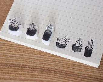 Cactus rubber stamp. Hand carved rubber stamp. Set of 3 or choose. Cactus pot stamp. Plants stamp. Handmade stamp.