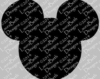Mickey Mouse Silhouette Head Face Digital Design - Full Embroidery Designs INSTANT DOWNLOAD ~ 4x4, 5x7 and 6x10 Sizes