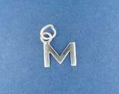 Letter M INITIAL Charm, Small Alphabet .925 Sterling Silver Charm