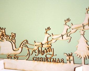 Wood Christmas Sleigh Decoration, Laser Cut Rustic with Reindeers, Shadow Display, Mantel Piece
