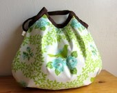 Mockingbird Pleated Bag in Chartreuse and Turquoise  - Up Parasol Collection - By Heather Bailey