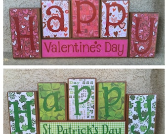 St. Patrick's Day blocks - reversible