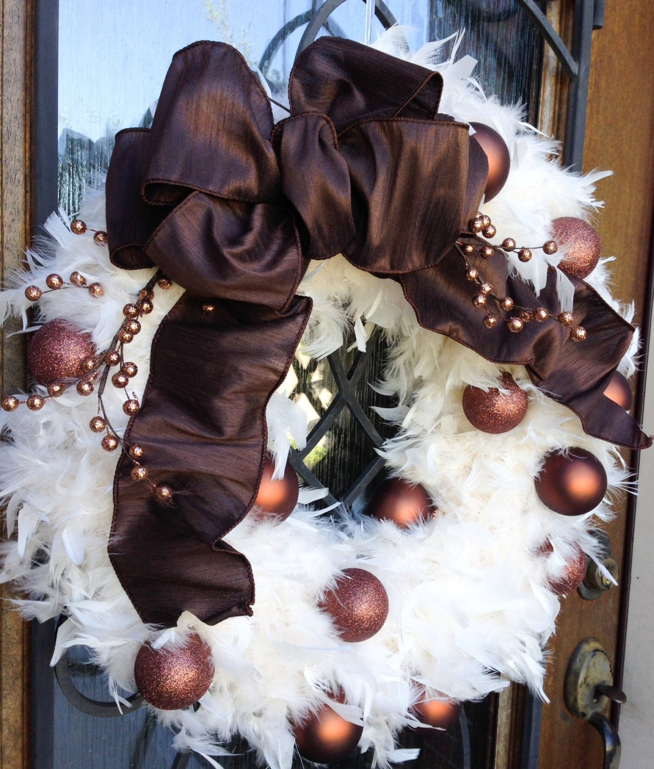 Christmas wreath in Cream with Chocolate ornaments -Feather wreath - Holiday Decor-Christmas wreath-door wreath-door decoration