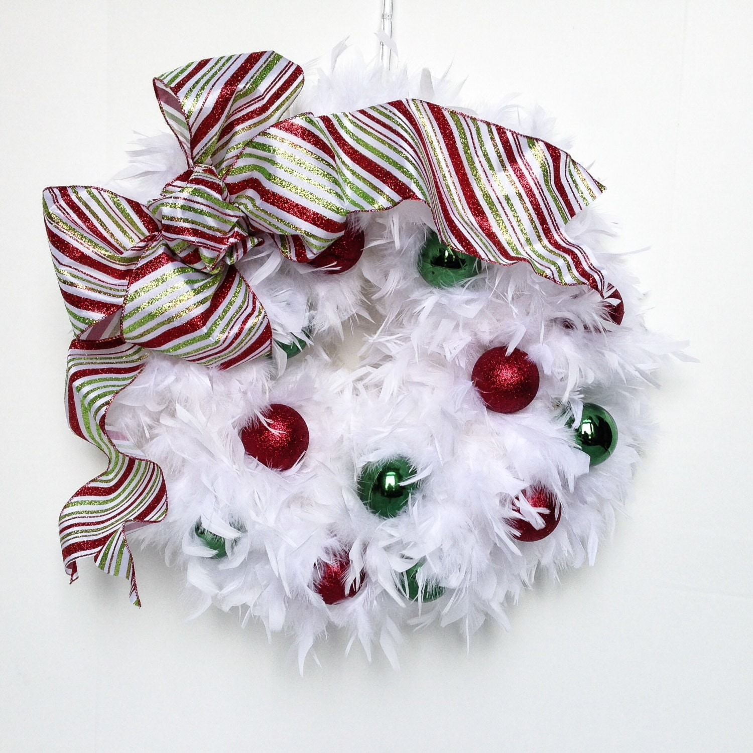 Christmas Wreath - White wreath - Holiday decor -Wreath -door decoration- Christmas decoration, Christmas wreath-red and green wreath