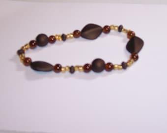 Brown & Amber Glass Bead Bracelet