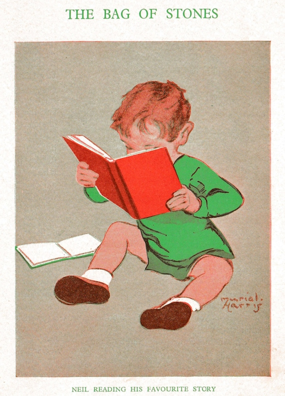 1930s print of illustration by Muriel Harris, little boy avidly reading his favourite story book, matted for framing, 8 x 10 inches