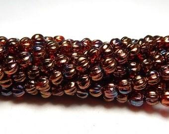 5mm Bronze Iris Ruby Round Czech Beads, Ruby Beads, Dark Red Beads, Small Dark Red Beads, Blood Red Beads, 5mm Melon Round Beads T-32E