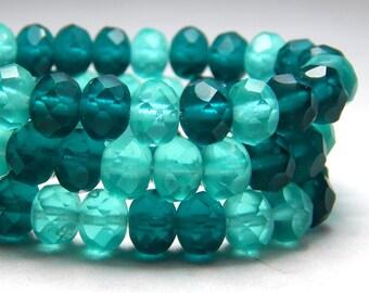 8x6mm Blue Matte Mix Czech Beads, Blue Beads, Blue Ocean Beads, Glass Beads, Glass Rondelles, Teal Beads, Blue Czech Rondelles, T-69A