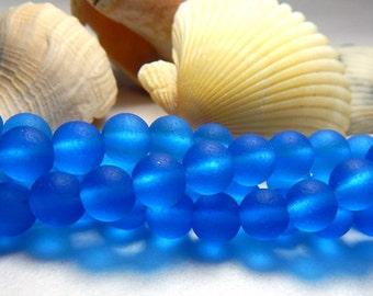 8mm Capri Blue Sea Glass Beads, Sea glass Beads, Blue Round Beads, Capri Blue Beads, Frosted Blue Beads, 8mm Matte Blue Beads  D-E40