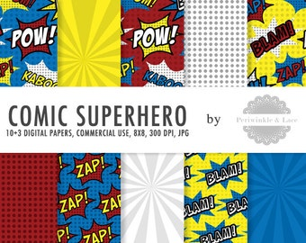 Comic Superhero Themed Digital Paper - Commercial Use - Instant Download