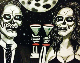 Painting 16x20 Dead Lovers with Martini Glasses Art Acrylic/Oil on Canvas