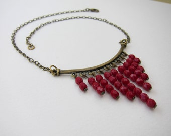 Stunning Fringe Necklace - antique bronze with opaque red Czech glass beads