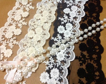 1yard DIY Lace ribbon online store flower embroidered ribbon DIY material 10-12cm lace belt white trim organza lace for wedding