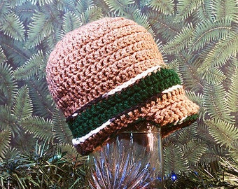 Ages 5 to 7: Light Brown, Green, and Snow Camo Newsboy Hat with Peaked Brim