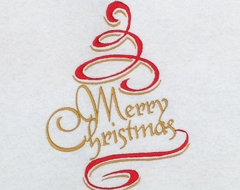Merry Christmas Tree Design Embroidery