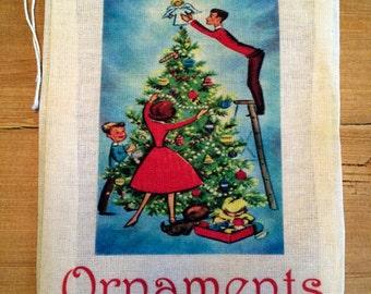 4 Christmas Retro Ornament Bag - Gift Holiday - Vintage Christmas Gift - Party Favor Bag 6x8 7x9 7x11 - Drawstring