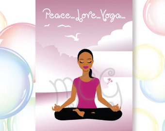 Peace..Love..Yoga Greeting Card Set,African-American, Yoga, Body, Mind and Spirit, Health, Fitness