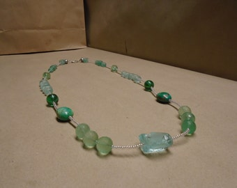 Long Gemstone and Glass Necklace