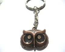 Owl Keychain with custom glass rhinestone eyes Owl Head Keychain, Owl Lovers Gift  Bird Keychain Gifts Under 10