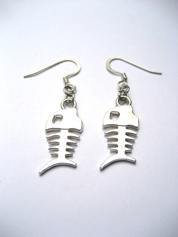 Silver fish bone earrings fish bone jewelry by revelryjewelry for Fish bone earrings