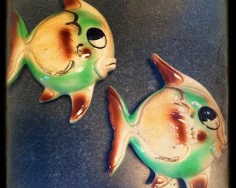 Vintage 1950's Ceramic Fish Wall Decor