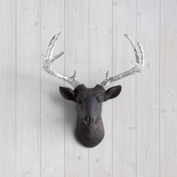Faux taxidermy black mini deer silver glitter antlers by - Silver stag head wall mount ...
