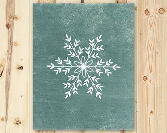 Holiday Art Print Printable Christmas Snowflake Wall Art Decor 8x10 Digital File Instant Download Teal Holiday