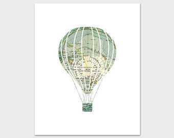 Hot Air Balloon Print, 8x10 PRINTABLE Nursery Art Print, World Map Explore Nursery Art, Map Nursery Print, Instant Download, Nursery Poster