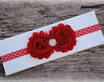 Red Quatrefoil Headband Infant Baby Toddler Girl Birthday Prop Gift Present