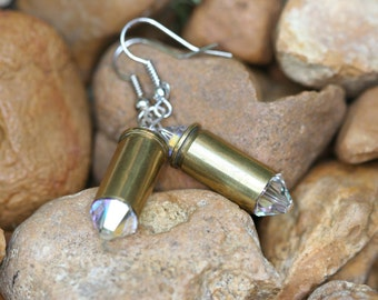 Bullet jewelry, bullet earrings, 32 caliber brass bullet casing earrings with clear Swarovski crystals, bullet dangle earrings