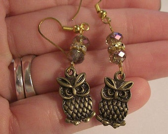 EARRINGS, OWL Crystal Bronze Dangles