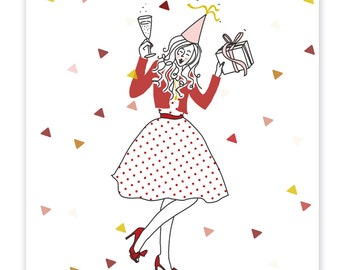 Greeting card Hooray with illustration, dual card with envelope