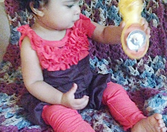 Brown & orange baby girls ruffle overalls // ruffle bubble overalls //