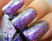 Fantasia - Glass Flakie Polish - Multichrome Flakies - Shifting Glass Flakie Nail Polish - Purple Glitter and Purple to Green Shifting Fleck