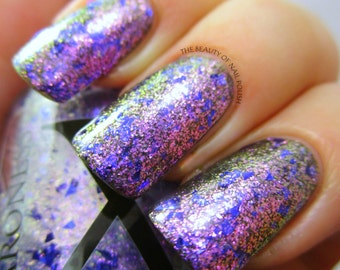 Fantasia - Glass Flakie Polish - Multichrome Flakies - Shifting Glass Flakie Nail Polish - Purple Glitter and Purple to Green Shifting Fleck