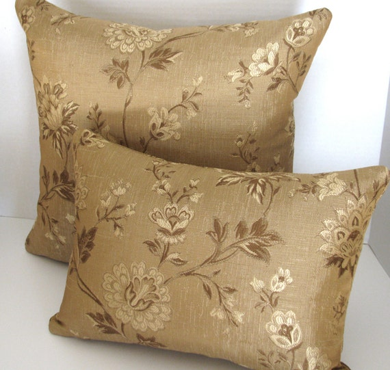 Gold Brown Throw Pillows : Gold and Brown 12x16 Lumbar Pillow Cover/ by SonoranTextiles