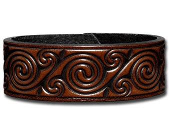 Leather Bracelet 24mm Celtic Spirals brown (4)