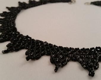 Handmade Beaded Russian Netting Necklace