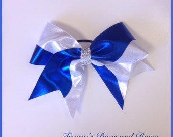 Silver/white and blue  spandex cheer bow