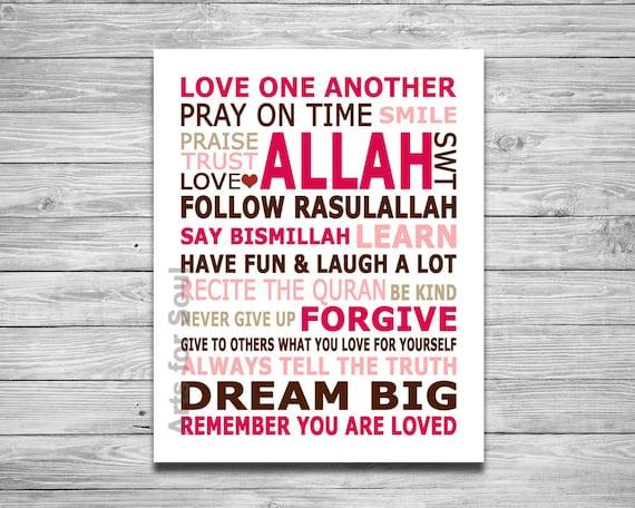 Islamic House Rules Modern Islamic Art Digital Printable Wall: rules of arabic calligraphy